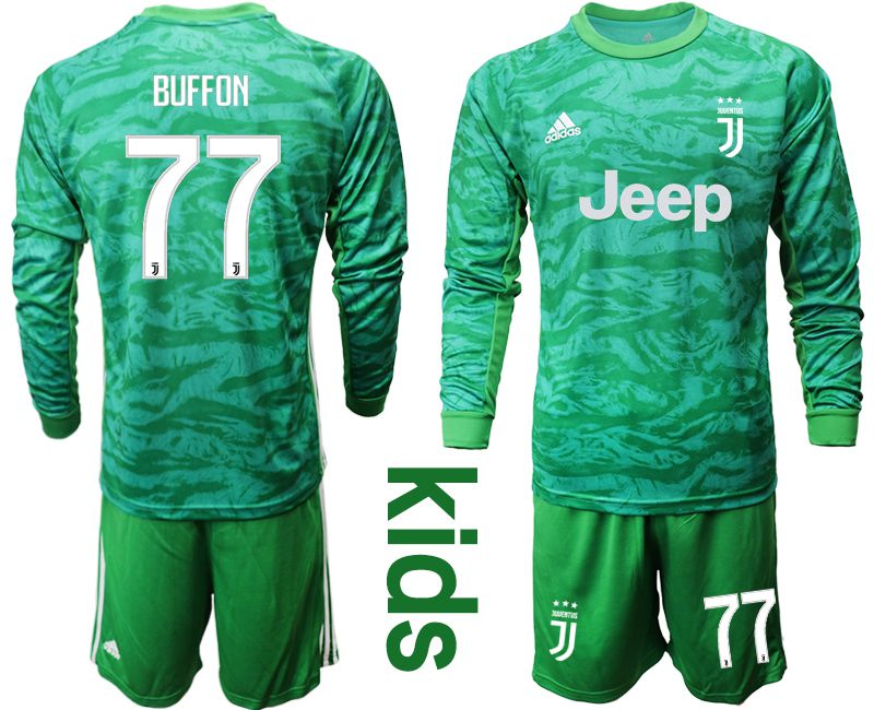 Youth 2019-2020 club Juventus green goalkeeper long sleeve 77 Soccer Jerseys